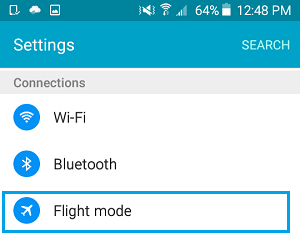 Flight Mode Option on Android Phone
