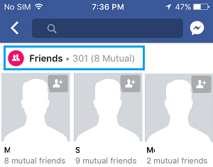 Friends Option in Facebook on iPhone