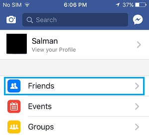 Facebook Friends Option on iPhone