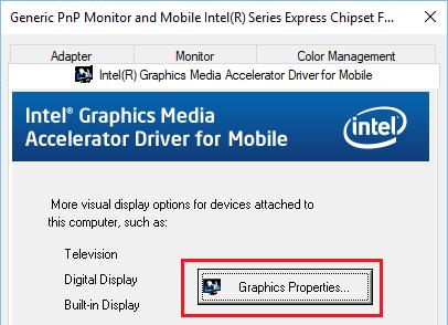 Graphics Properties Option In Windows 10