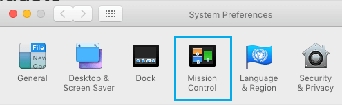Mission Control Tab in System Preferences Screen on Mac