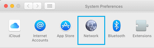 Network Option in System Preferences Screen on Mac