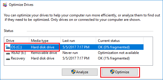 Optimize Hard Drive in Windows 10