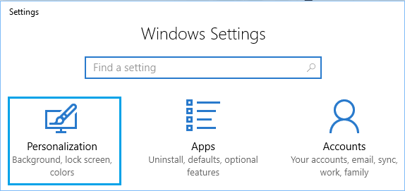 Personalization Option on Windows 10 Settings Screen