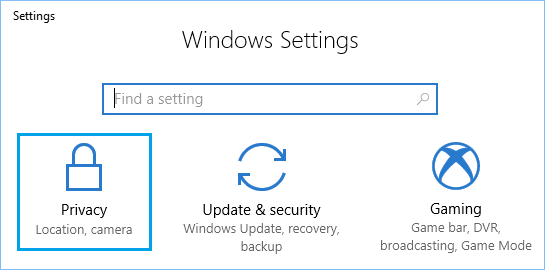 Privacy Option on Settings Screen in Windows 10