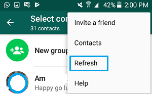Refresh Contacts Option in WhatsApp On Android Phone