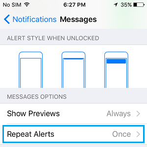 Repeat Alerts Settings Tab on iPhone