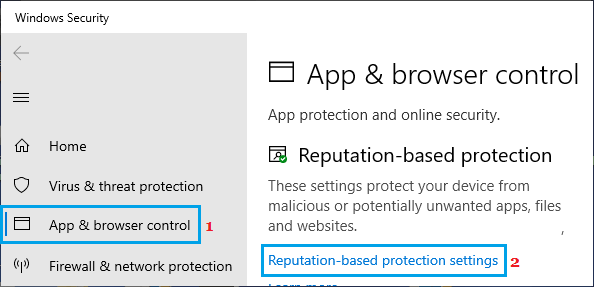 Reputation-based Protection Settings option in Windows Defender