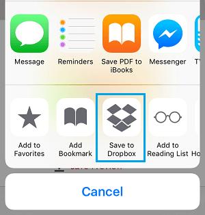Save to Dropbox Option on iPhone Share Menu