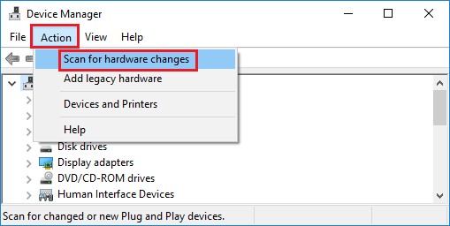 Scan for Hardware Changes Option in Windows 10 Device Manager Screen