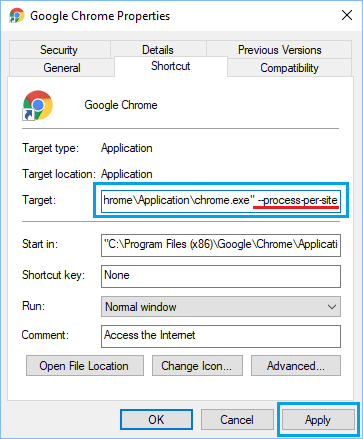 Set Chrome Browser To Open Single Process For Multiple Tabs