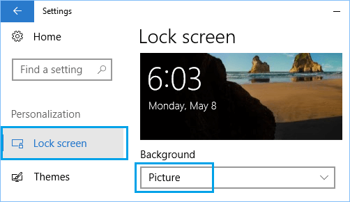 Set Lock Screen Background Type To Picture in Windows 10
