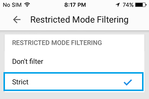 Enable Restricted Mode in YouTube App On iPhone