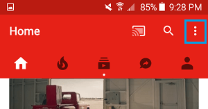 YouTube Settings Icon on Android Phone