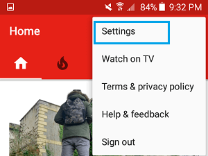 YouTube App Settings Option on Android Phone