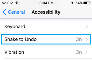 Shake to Undo Option on iPhone