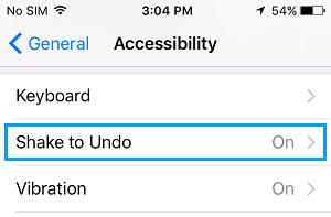 Shake to Undo Option on iPhone