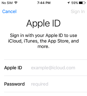 Sign In to Apple ID on iPhone