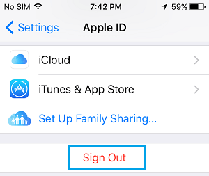 Sign Out Option in Apple ID Screen on iPhone