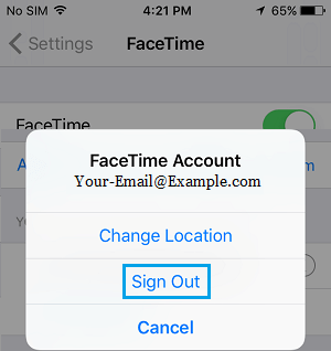 Sign Out of FaceTime on iPhone