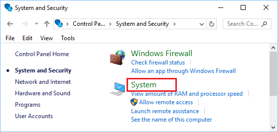 System Option in Windows 10 Control Panel System & Security Screen