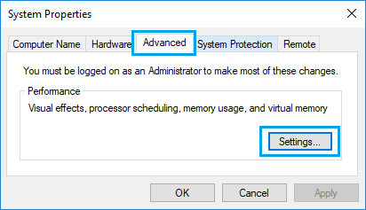 Settings Option on Windows Advanced System Properties Screen