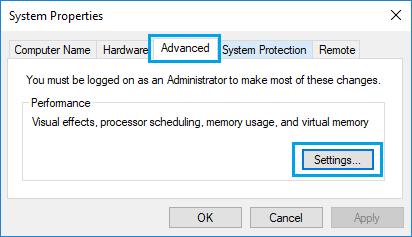 Advanced Performance Settings Option in Windows 10