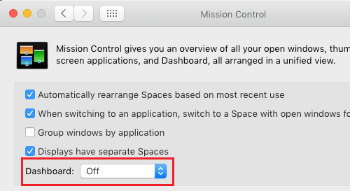 Turn OFF Dashboard On Mac
