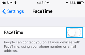 Disable FaceTime on iPhone