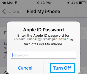 Enter Apple ID Password to Turn OFF Find My iPhone