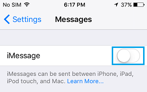 Turn OFF iMessages on iPhone