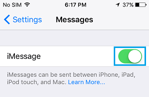 Turn ON iMessages On iPhone