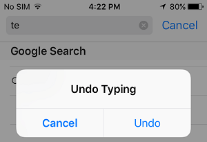Undo Typing Prompts on iPhone