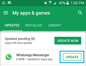 Update WhatsApp Messenger On Android Phone