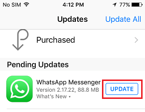 Update WhatsApp on iPhone