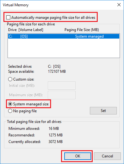 Set System Managed Size For Virtual Memory On Windows PC