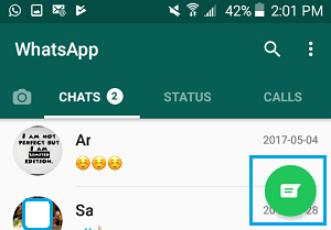 Contacts Icon in WhatsApp On Android Phone