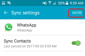 WhatsApp Sync Settings Screen on Android Phone