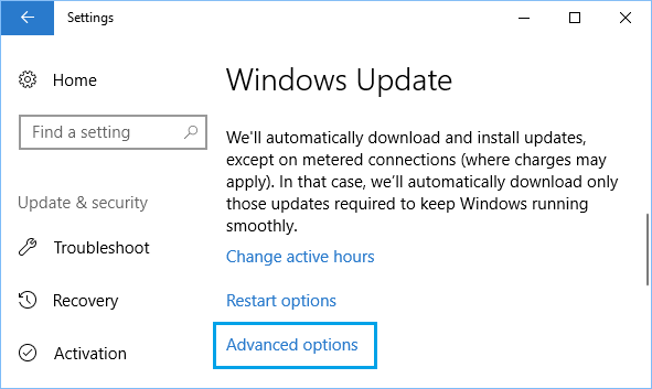 Advanced Settings Options For Windows Update in Windows 10
