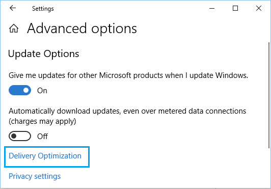 Delivery Optimization Option on Windows Update Settings Screen