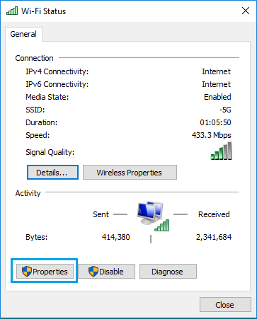 WiFi Network Adapter Properties Option in Windows 10