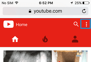 YouTube Settings Icon on iPhone in Safari Browser