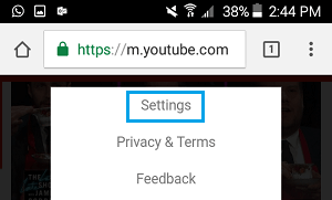 YouTube Settings Option on Android Chrome Browser