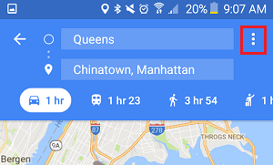 3-dots Menu Icon in Google Maps on Android Phone