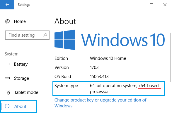 System Type Information on About Screen in Windows 10