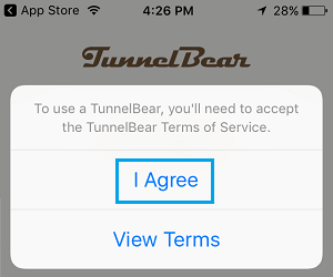 Agree to TunnelBear VPN Terms of Service