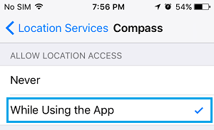 Allow Compass App to Access Location Information While Using the App