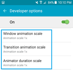 Animation Scale Settings on Android Phone