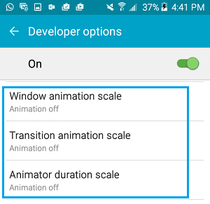 Disable Animations on Android Phone