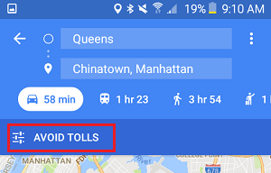 Avoid Tolls Option Enabled in Google Maps on Android Phone